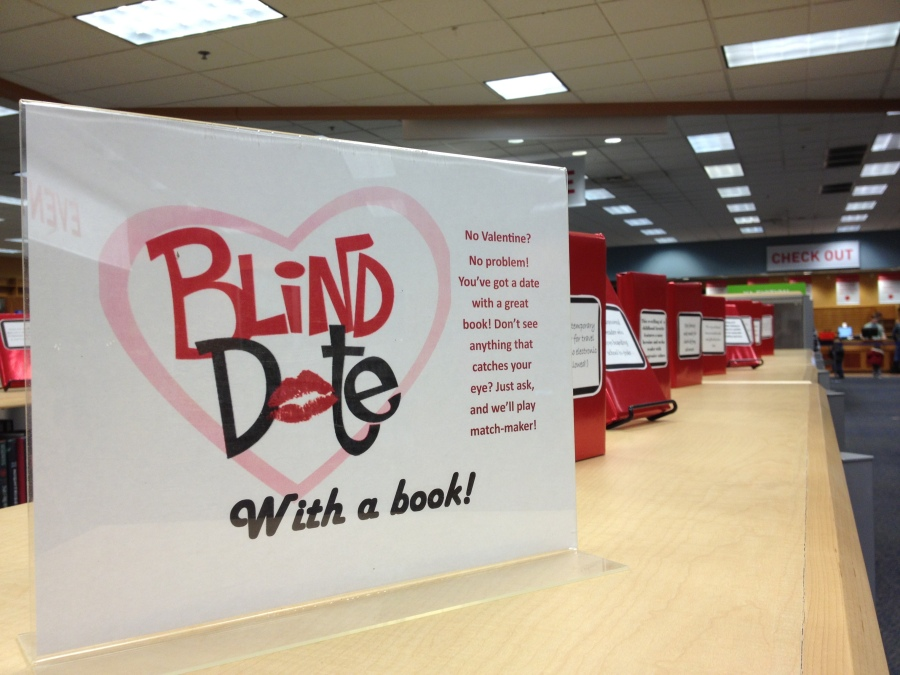 Teen Library Display for Valentine's Day: Blind Date with a Book