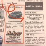 newspaper clue