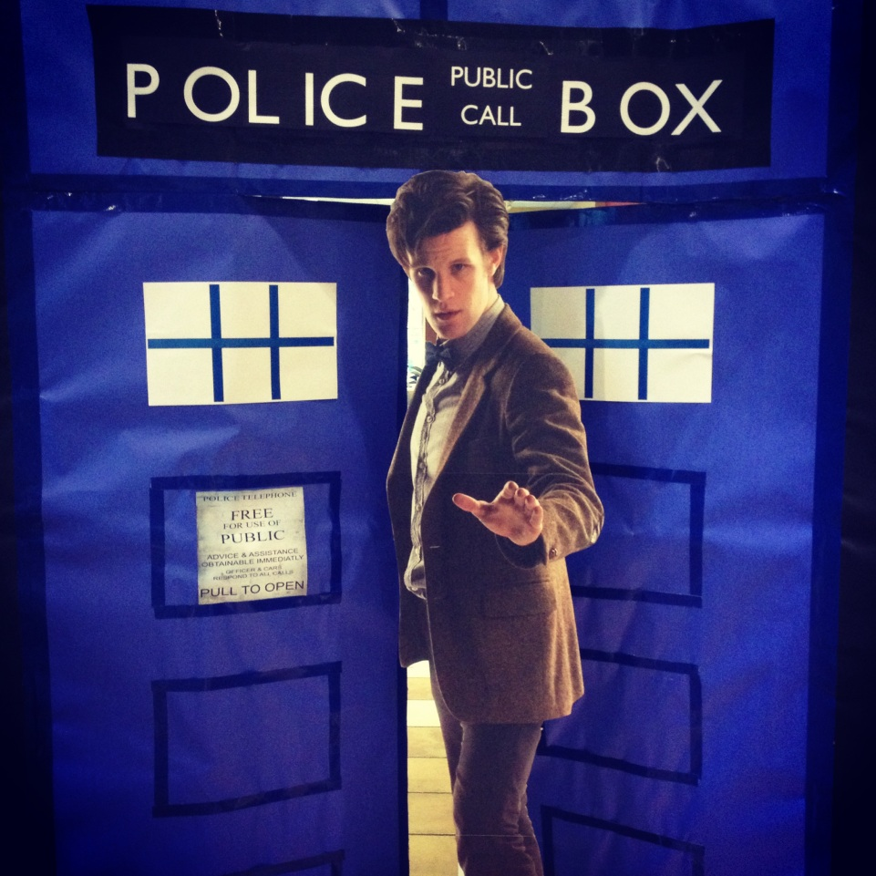 Doctor Who display for epic Doctor Who party at library