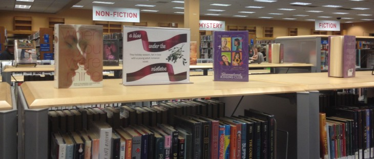 under the mistletoe YA winter library display
