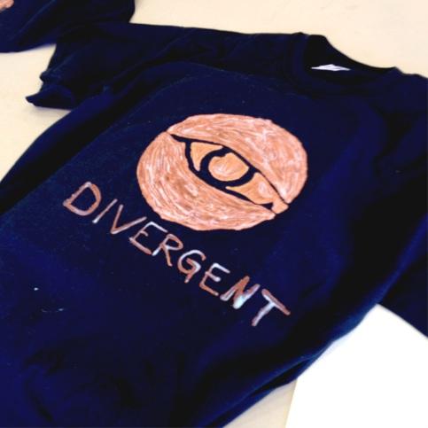divergent stencil bleach pen t-shirt