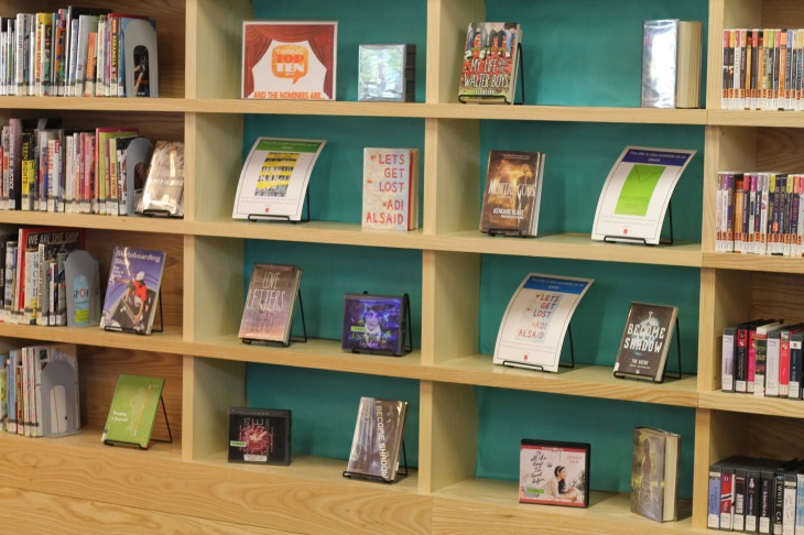library display with ebook flyers