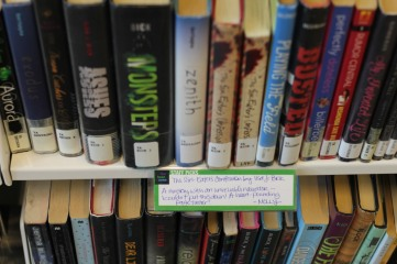 shelf talkers to promote books   wrapped up in books
